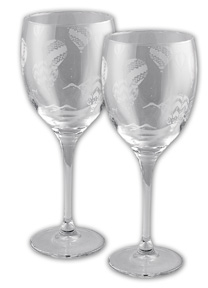 Etched Hot Air Balloon Wine Glass