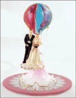 Hot Air Balloon Glass Wedding Cake Topper