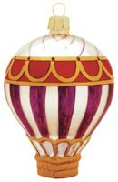 Purple Majesty Hot Air Balloon Glass Ornament