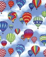Rainbow Hot Air Balloon Cotton Fabric