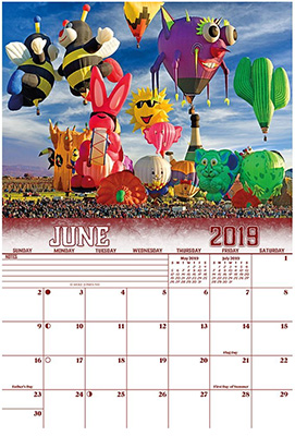 2019 Hot Air Ballooning Calendar