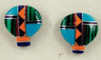 Sterling & Inlay Hot Air Balloon Earrings, Posts
