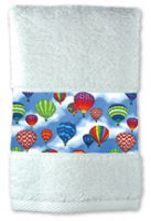 Rainbow Hot Air Balloon Towels, White