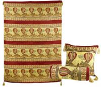 Hot Air Balloon Turkish Wall Hanging and 2 Pillow Set, Crimson Red