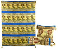 Hot Air Balloon Turkish Wall Hanging and 2 Pillow Set, Lapis Blue
