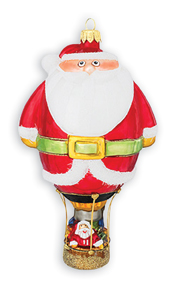 Santa Hot Air Balloon Christmas Ornament