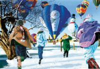 Christmas Visitor Hot Air Balloon Christmas Cards