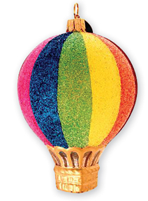 Hot Air Balloon Glass Ornament