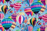 Brilliant Hot Air Balloons Cotton Fabric