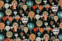 Fanciful Hot Air Balloon Fabric, Black