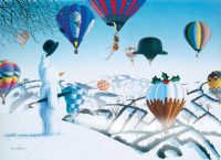 Snowy & The Balloons Hot Air Balloon Christmas Card
