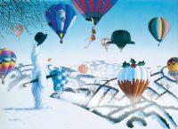 Snowy & The Balloons Hot Air Balloon Christmas Card
