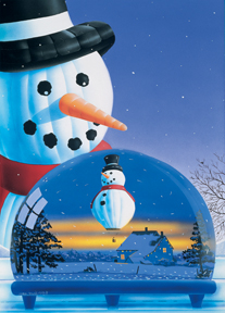 Hot Air Balloon Snowman Christmas Card