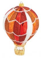 Christmas Carnival Glass Hot Air Balloon Ornament, Tangerine