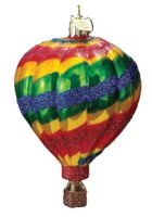 Soaring Spirit Hot Air Balloon Glass Ornament, Stripes