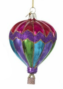 Glass Hot Air Balloon Christmas Ornament
