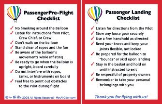 Hot Air Balloon Briefing Cards