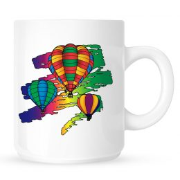 Rainbow Hot Air Balloon Coffee Mug