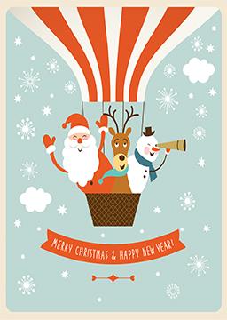 Hot Air Balloon Holiday Card