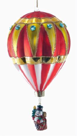 Glass Hot Air Balloon Snowman Ornament
