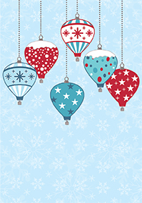 Hot Air Balloon Christmas Greeting Card