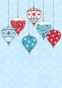 Hot Air Balloon Christmas Greeting Card