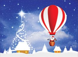 Hot Air Balloon Christmas Card